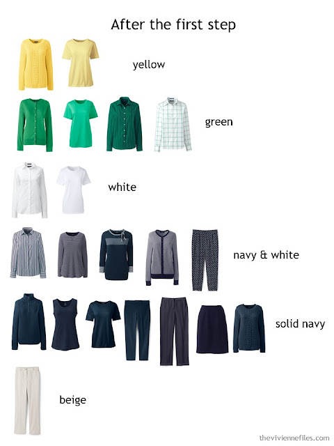 Sorting a capsule wardrobe by color
