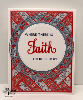 Our Daily Bread Designs Stamp/Die Duos: Walk By Faith, Custom Dies: Quilted Background, Double Stitched Circles, Filigree Circles, Paper Collections:  Americana Quilt, Old Glory