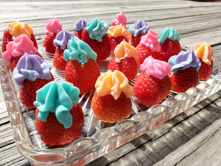 colorful cheesecake stuffed strawberries for easter brunch