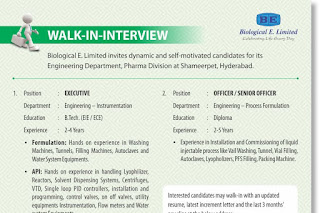 Walk in interview@ Biological E on 1/03/2019 for multiple positions