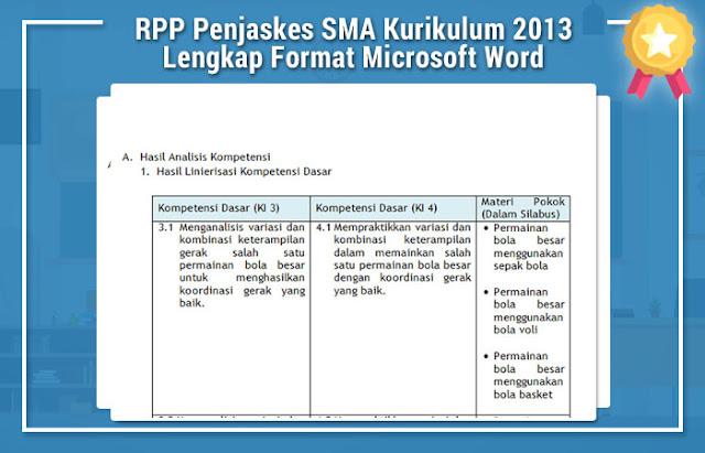 RPP Penjaskes SMA Kurikulum 2013 Lengkap Format Microsoft Word