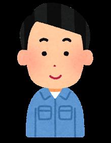 男性作業員の表情のイラスト「笑顔」表情