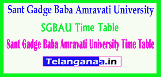 SGBAU Time Table 2018 Sant Gadge Baba Amravati University Time Table 2018