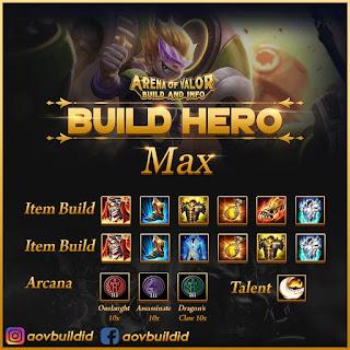 Item build, arcana, dan talent untuk max