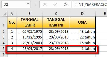 Cara Menghitung Usia Seseorang dengan Akurat Menggunakan Excel