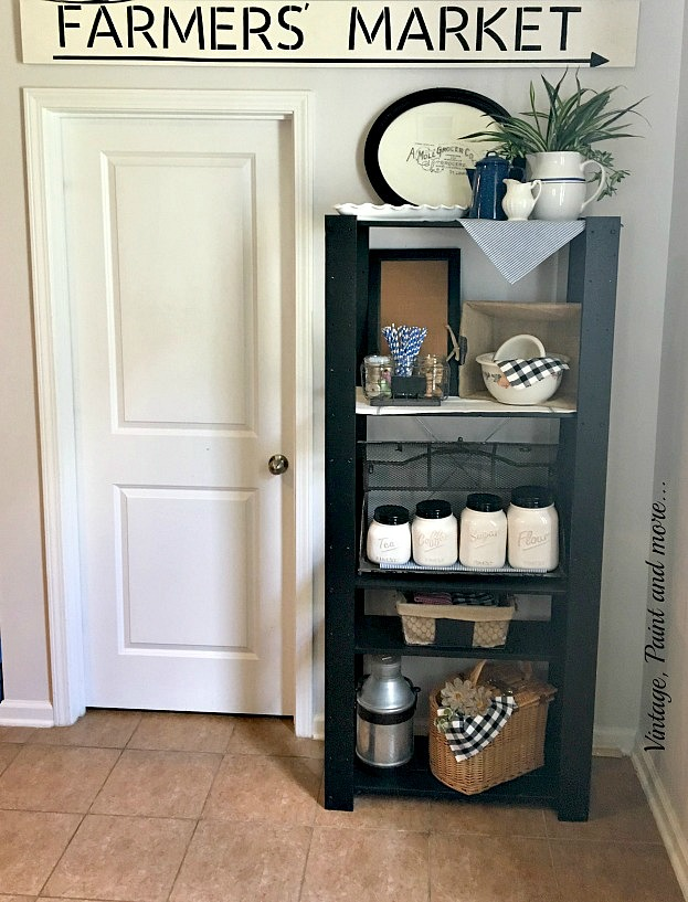 Vintage, Paint and more... a diy unfinished shelf unit painted with black chalkboard paint and done in a vintage industrial theme