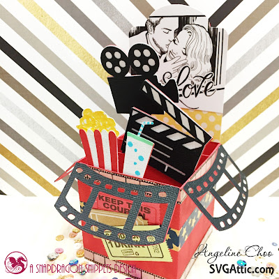 SVG Attic: Love Movie Box Card with Angeline #svgattic #scrappyscrappy #boxcard #valentine #movie #papercraft #svg #diecut #card #cardmaking #craft