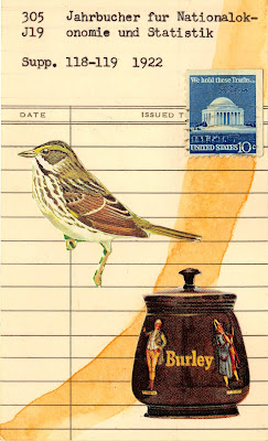 anxiety library due date card Jefferson memorial DC postage stamp sparrow bird Dada Fluxus mail art collage
