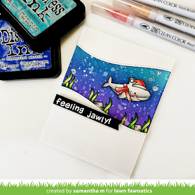 Feeling Jawly Card by Samantha Mann, Lawn Fawn, Lawn Fawnatics Challenge, Distress Inks, Ink blending, christmas, Christmas Cards, cards, #lawnfawn #lawnfawnatics #christmas #cards #jaws #shark #distressinks #Inkblending