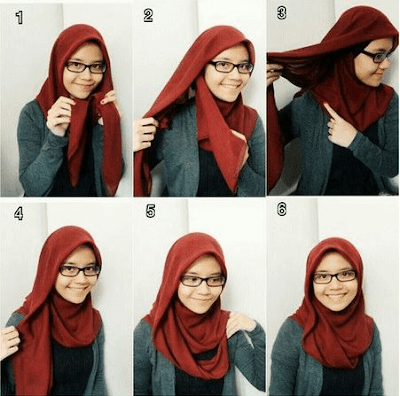 Tutorial hijab pashmina kaos Ria Ricis simple terbaru dari video youtube