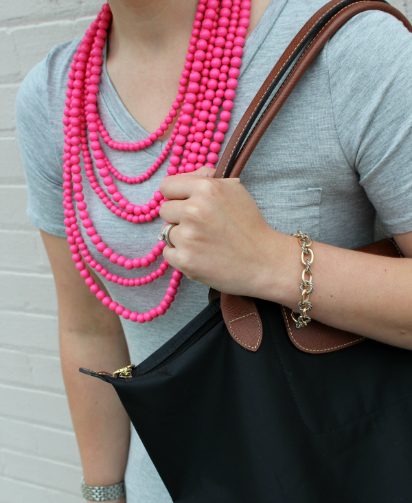 comfy glam, statement necklace, mom style