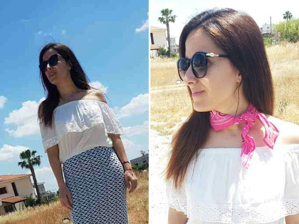 Four ways to style a white off shoulder top