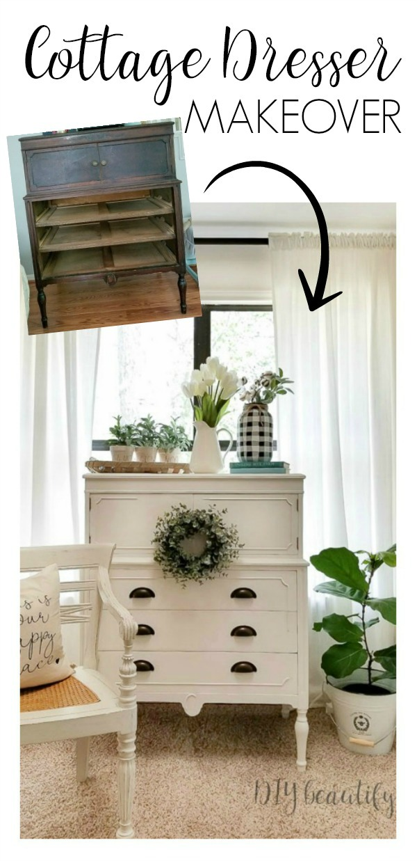 cottage white dresser makeover before and after