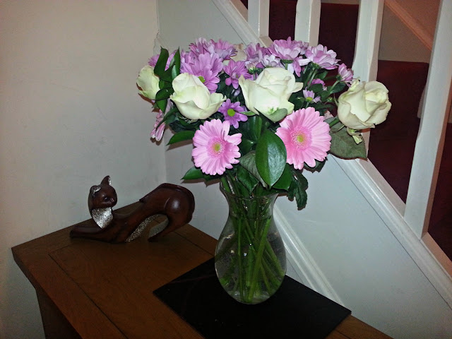 Fresh flowers displayed in vase