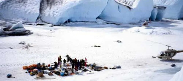The crew on location at the Llewellyn Glacier. (Robert Toohey Locations)