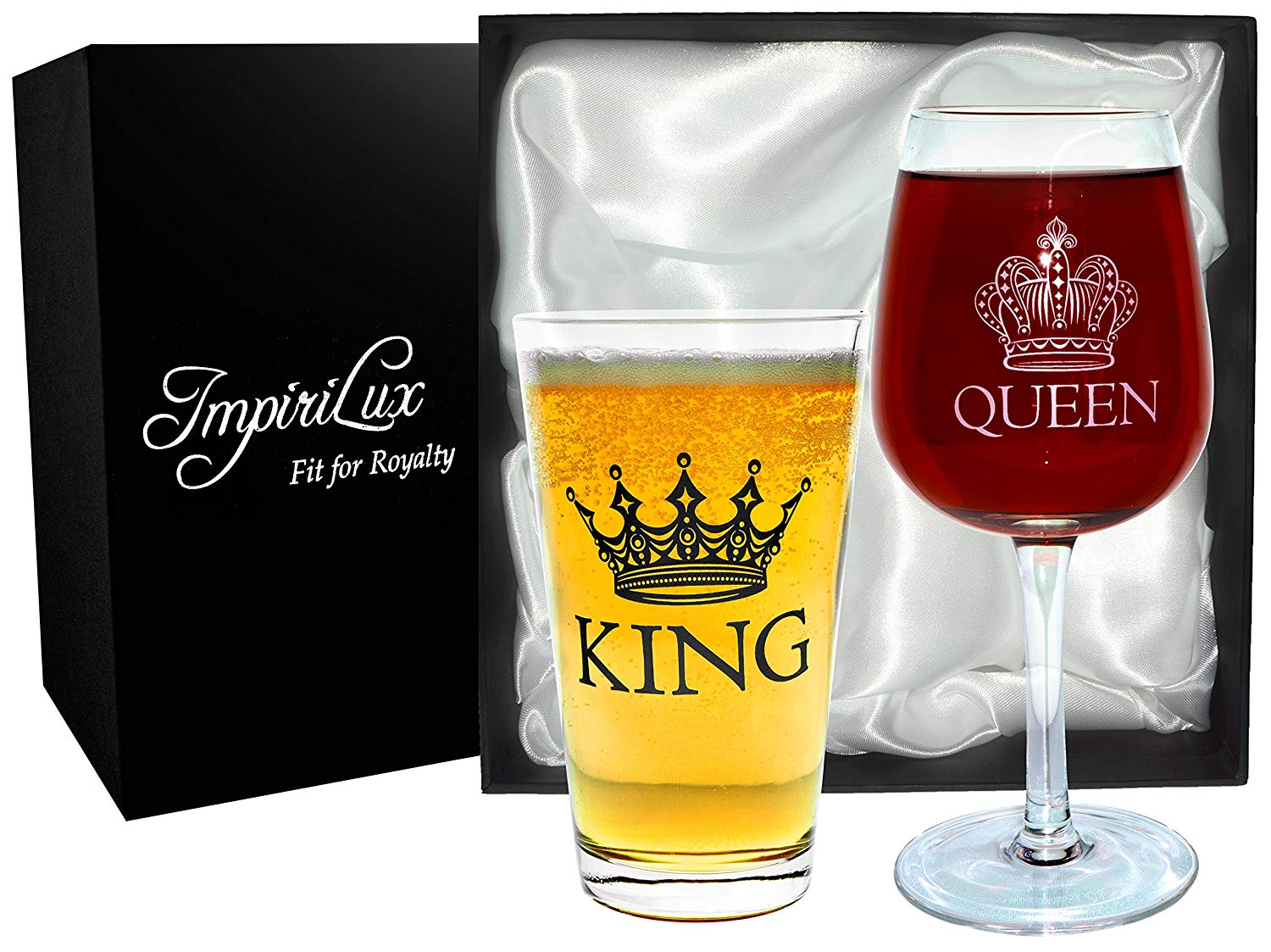 impirilux king beer queen wine glass set beautiful affordable gift for newlyweds engagements anniversaries weddings parents couples christmas - Christmas Gifts For Newlyweds