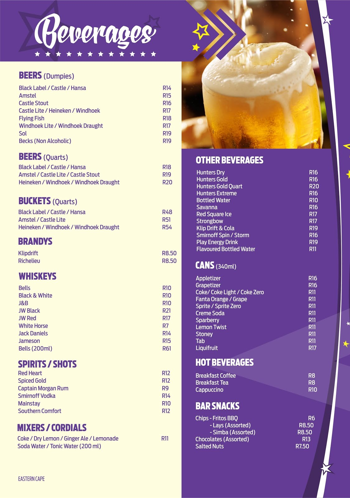 Hollywoodbets Newton Park Menu - Beverages, Drinks, Beers, Spritis, Liquor