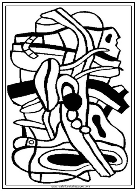 project for a mural printable fernand Leger adults coloring pages