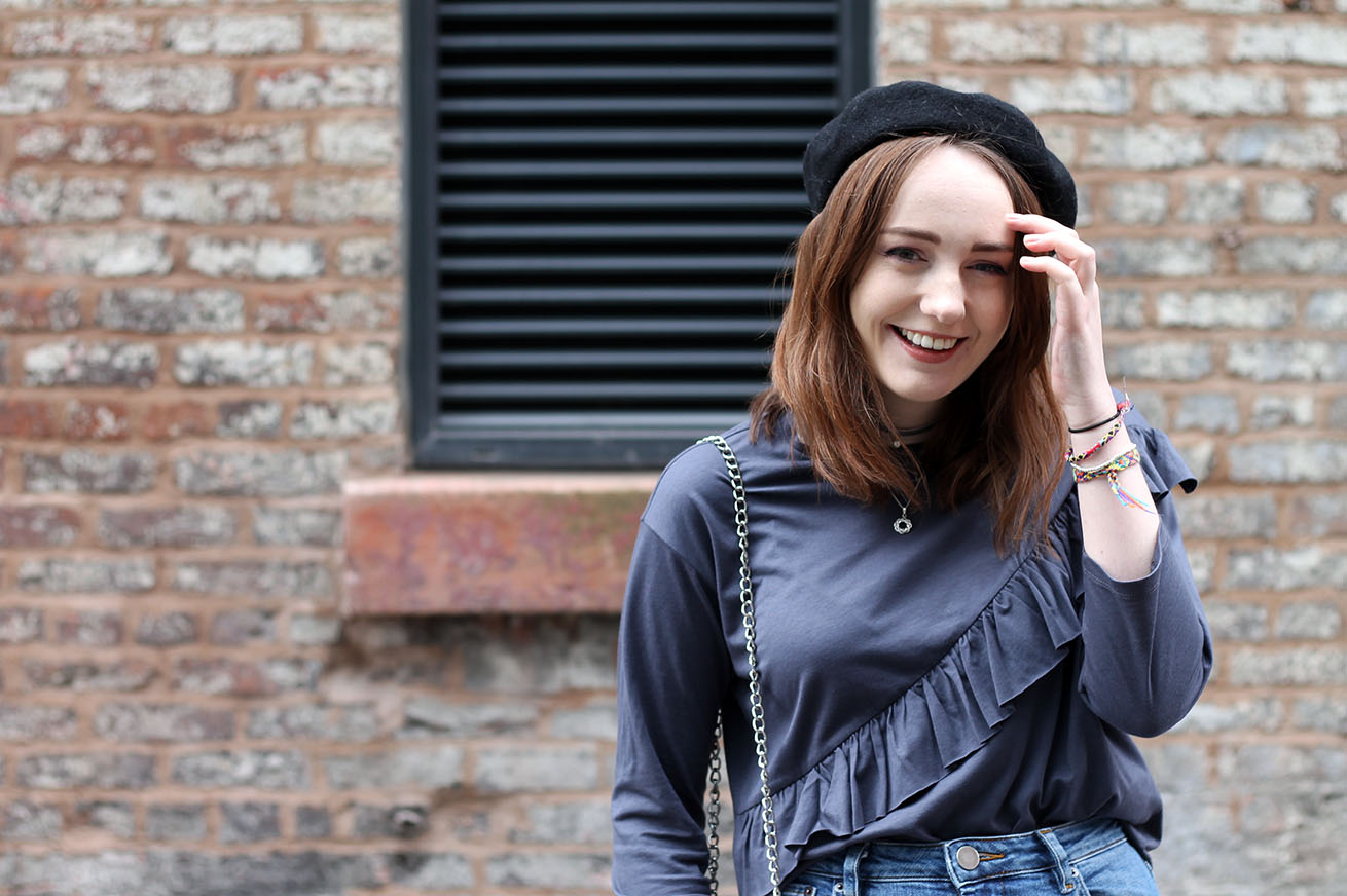 Liverpool fashion blogger, black beret and grey ruffle top