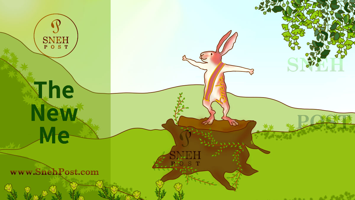 how move on need you to love yourself, nature and natural: Cartoon illustration of a happy bunny with wide open arms in greenery around, saying  — the new me