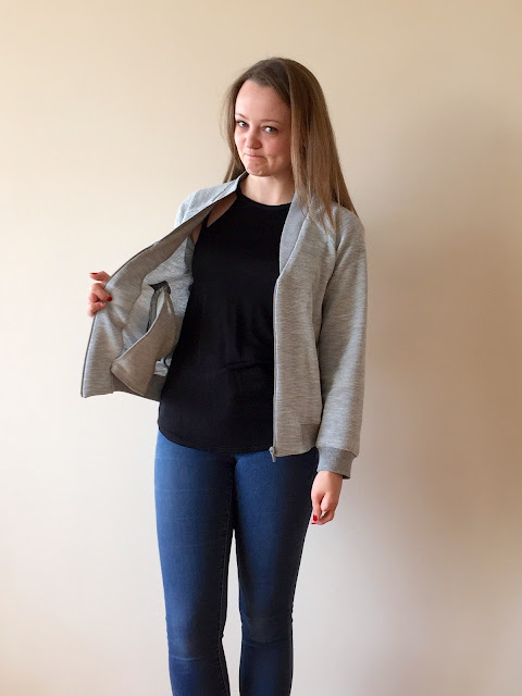 Diary of a Chain Stitcher: Grey Ribbed Knit Papercut Patterns Rigel Bomber Jacket