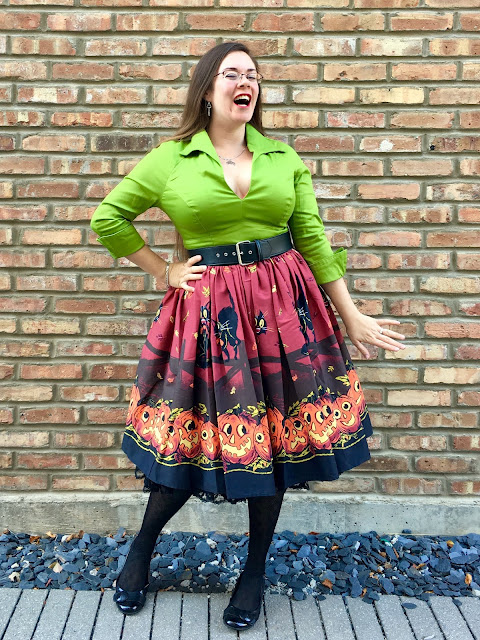 pug olive lauren top pumpkin border skirt