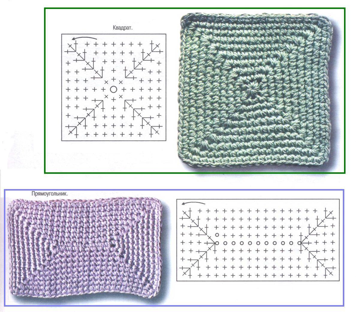 Схема квадрата из трикотажной пряжи