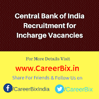 Central Bank of India Recruitment for Incharge Vacancies