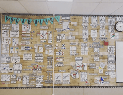 Ms. Shook's math bulletin board is absolutely gorgeous!  I love the pennants she created to showcase this is a math vocabulary wall.