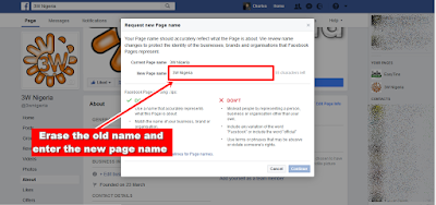 Facebook Page Name Change