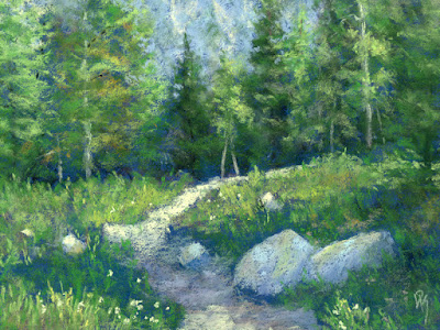art painting landscape pastel mountain wasatch hiking trail