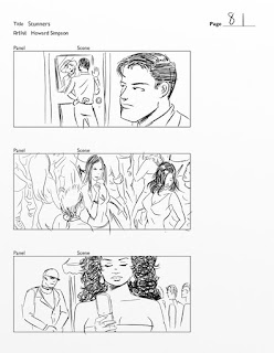 pencil storyboard art for the movie Stunners