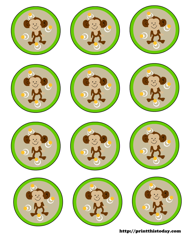 Animal Babies: Free Printable Toppers or Labels.