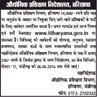 ITI Haryana Instructors Recruitment May 2015 Contract
