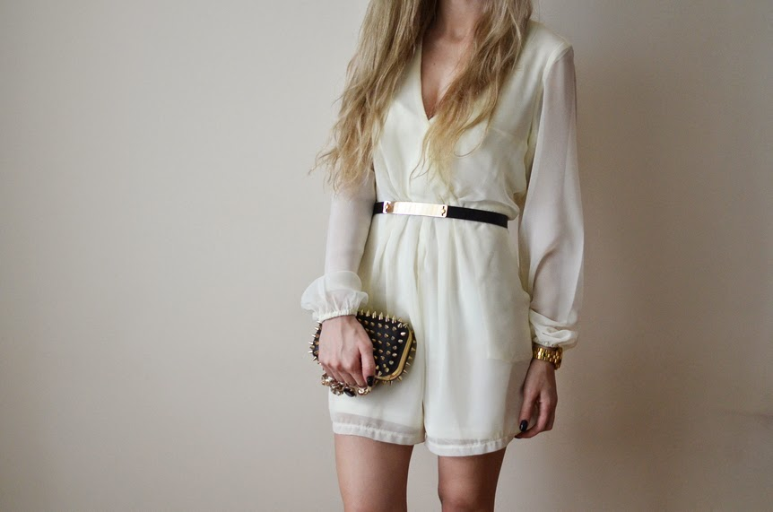CHIFFON PLAYSUIT, MIRROR BELT & STUDDED CLUCTH BAG