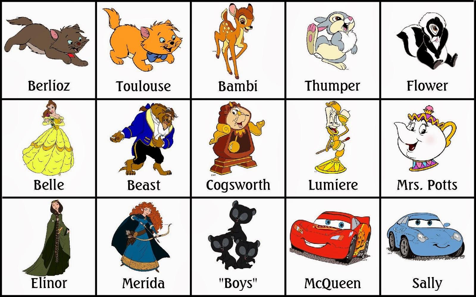 Bingo de Personajes Disney, para Imprimir Gratis.   Ideas y material ...