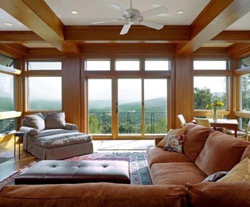 Desain Ruang Tamu Dan Keluarga Rumah Kayu Minimalis Modern