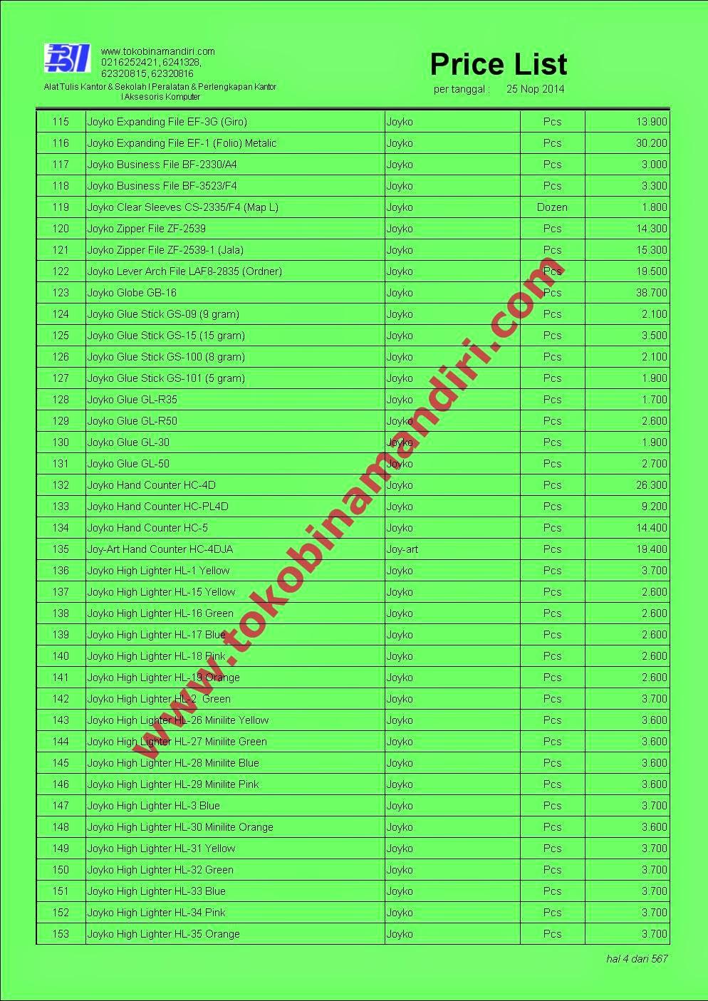 Daftar Harga ATK Joyko Glue Stick, Highligter etc..