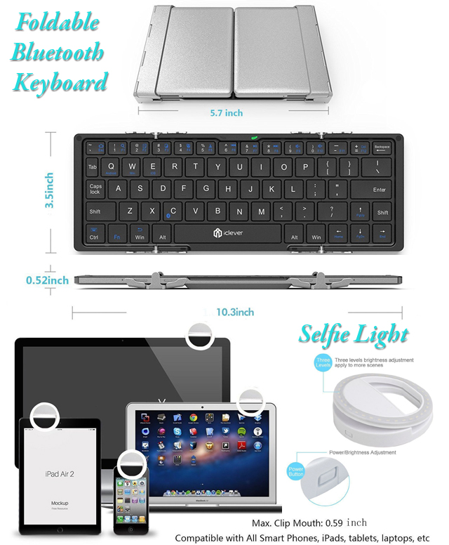 Foldable Bluetooth Keyboard and Selfie Ring Light measurements
