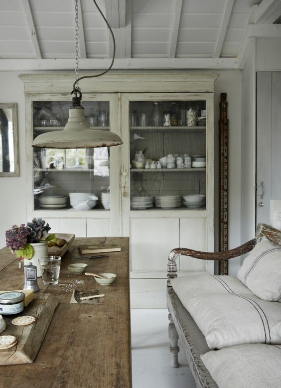 A Gloriously Rustic Elegant Kitchen With Farm Table, Bench With Linen  Grainsack Pillows, ...