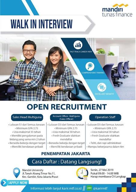 Lowongan Kerja PT Mandiri Tunas Finance Jakarta Pusat 2019