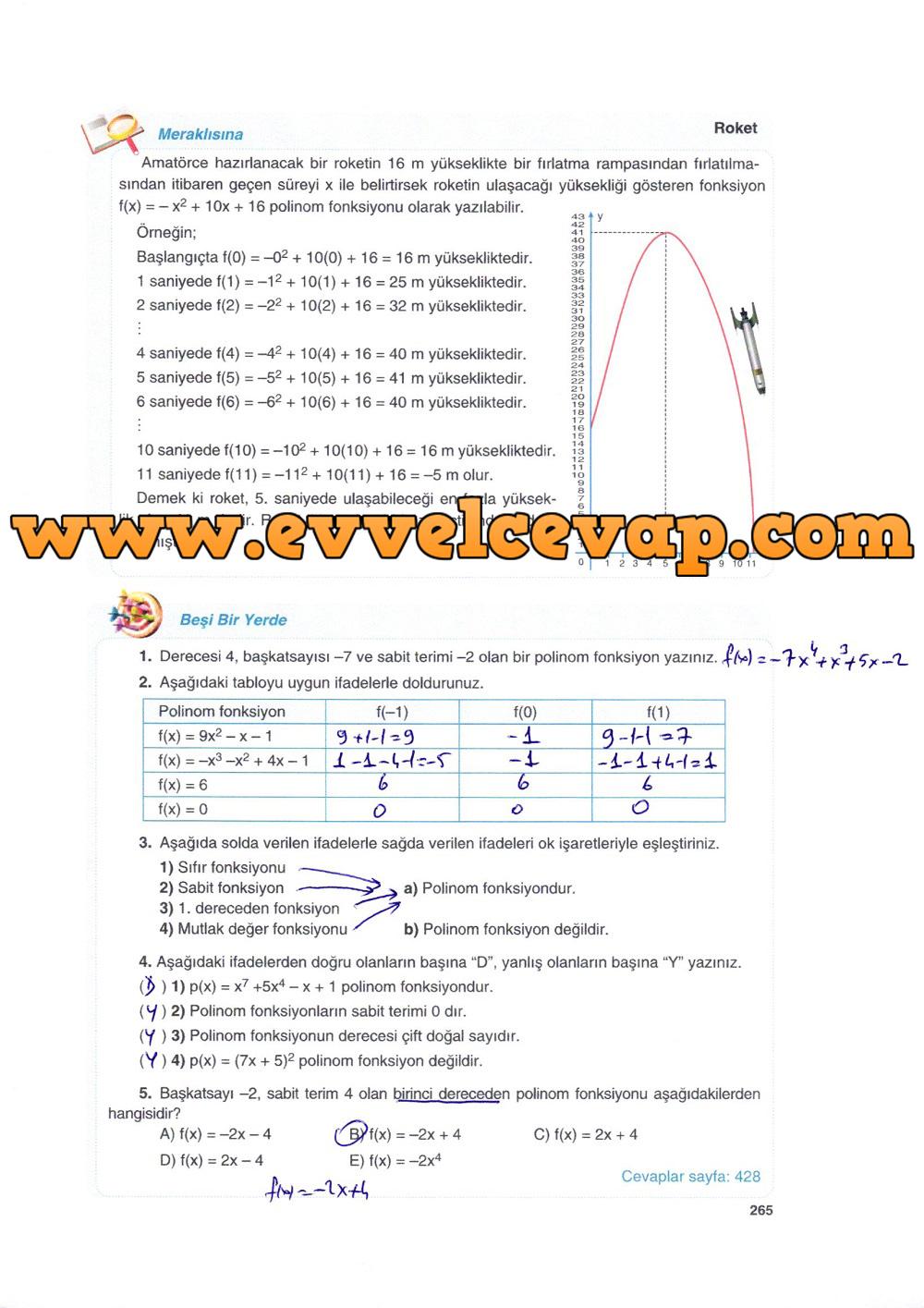 10. Sınıf Matematik Tuna Yayınları Ders Kitabı 265. Sayfa Çözümleri