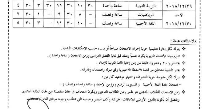 جداول امتحانات الشهادة الابتدائيه بمحافظة الاسكندرية 2019
