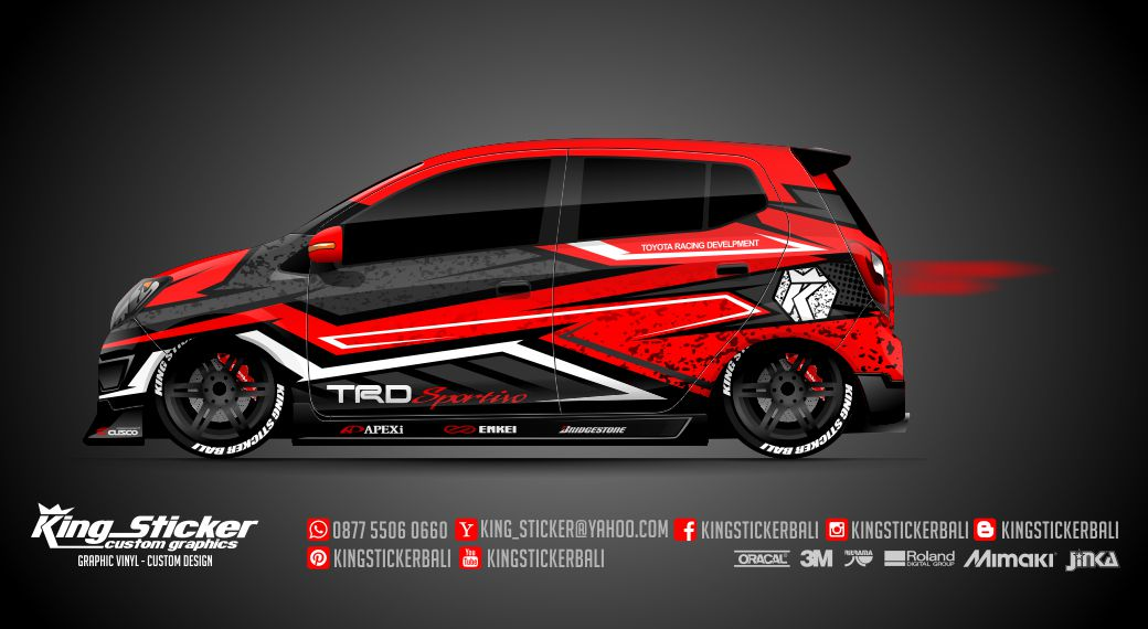 Toyota Honda >> STICKER MOBIL AGYA - AYLA TRD RACING SPORT | King Sticker bali