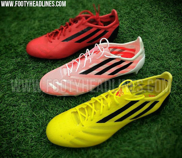 71d6af982 Update 08 05 15  A new picture gives us a closer look at three colorways of  the Adidas Adizero 99g Soccer Cleats. The red and yellow paint jobs feature  the ...