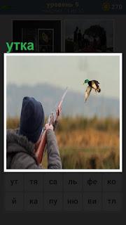 на охоте из ружья прицелился охотник в летящую утку