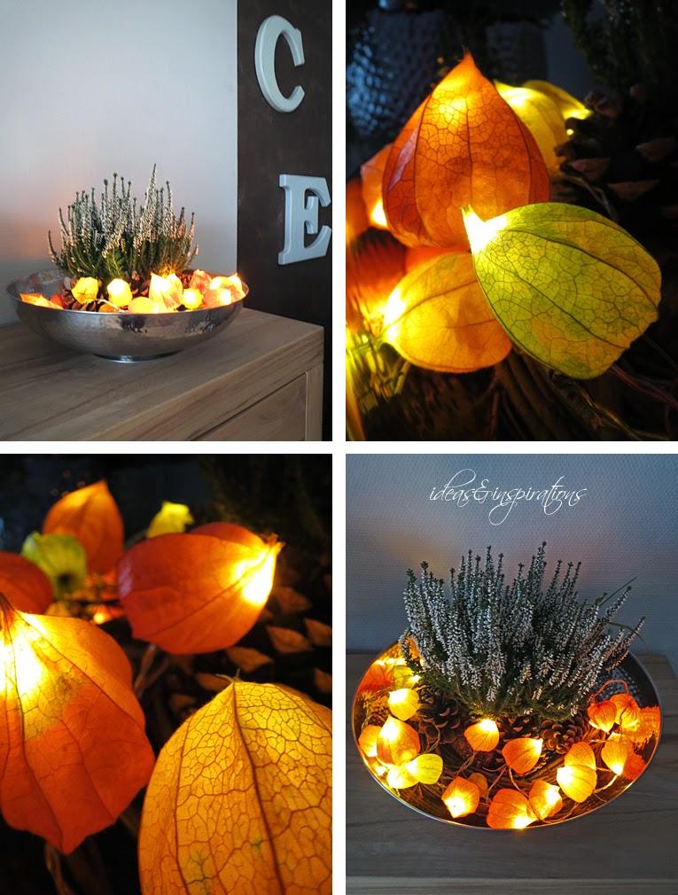 Lampionblumen und eine Lichterkette sind eine tolle Herbstdeko