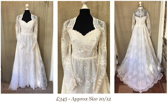 sweetheart illusion neck long sleeve vintage wedding dress available from vintage lane bridal boutique bolton manchester