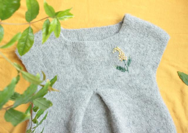 платье свалять связать крючком мимоза, вышивка мимоза