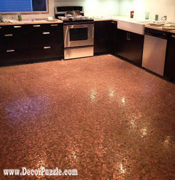penny floor, penny tile floor, copper tile